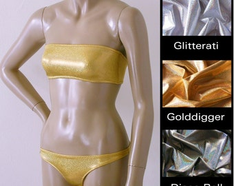 Strapless Bandeau and Brazilian Bikini Bottom in Silver Gold and Disco Ball  Glitter Hologram in Custom Cup Sizes