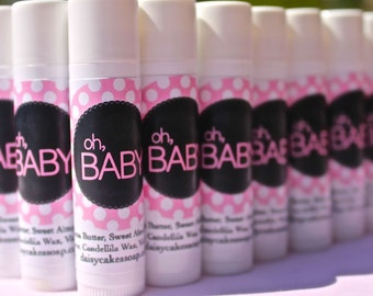Baby Shower Favors, Oh Baby Lip Balm, Baby Girl (Your Flavor Choice)