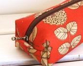 Long box pouch - Etching flower in orange