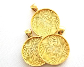 5 to 50 Gold tone 1 inch pendant trays, frames, charm base, bezel for jewelry, key chains, boot jewelry