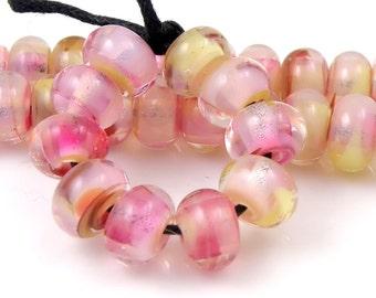 Moor Rose Swirly Spacers - Handmade Artisan Lampwork Glass Beads - 5mmx9mm SRA (Set of 10 Spacer Beads)