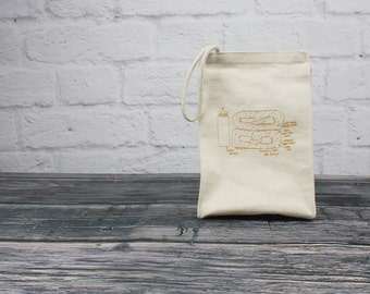 Lunchbag - Philly soft pretzel - eco-friendly cotton lunch bag - pretzel lunchbag - reusable lunch sack - Philly gift - Gifts under 25 - men