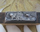 Antique Letterpress Printers Block Cupid With A Large Quiver of Arrows