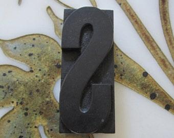 Letter S Antique Letterpress Wood Type Printers Block