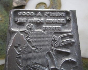 Vintage Letterpress Printers Block Man Splashed by Car Directed to the Dry Cleaners