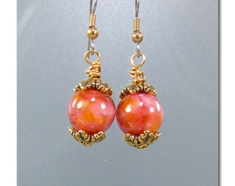 DarleenMB ~Tropical Sunrise ~ handmade lampwork bead earrings