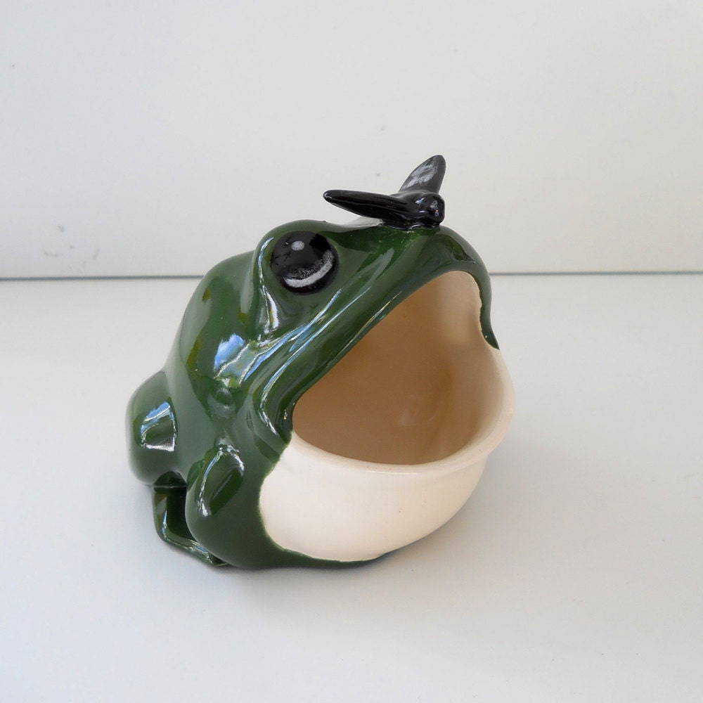 Ceramic frog with fly on nose scrubby holder kitchen sink - Frog sponge holder kitchen sink ...