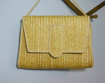 Vintage 60s Italian Straw Purse 33 East A Division of Etra Made in Italy