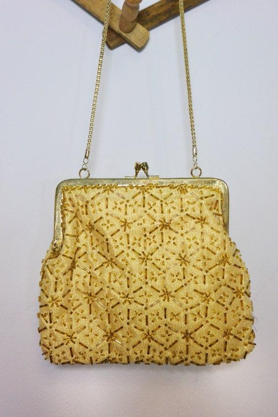 1950s la regale ltd purse gold topaz and amber beaded frame handbag