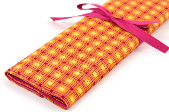 Knitting Needle Case - Orange Plaid -IN STOCK Large Organizer 30 pink pockets for straights, circulars, dpns and notions