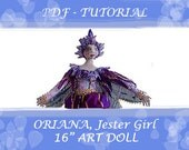 "Art Doll, ORIANA, TUTORIAL- Jester, Height 16"" (41cm), Girl Doll, Workshop, DIY, Michelle Munzone, Art, Crafts, Dollmaking, Bamboledesigns"