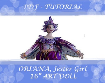 "Art Doll, ORIANA, TUTORIAL- Jester, Height 16"" (41 cm), Workshop, DIY, Michelle Munzone, Art, Home Decor, Gift idea, Doll making, Bambole"