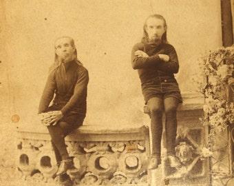 Antique WAINO PLUTANO Cabinet Card Wild Men of Borneo Little People Circus Sideshow Souvenir Barnum Bailey Photo Photograph Dwarf CDV 1880