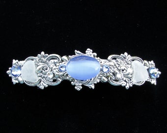 Sparkling Hair Barrette with Light Blue Cabochon  Crystals and Beach Glass