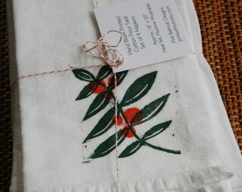Orange Branch - Soft Cotton Flour Sack Napkins or Hand Towels - Hand Block Printed - Set of 4 - READY TO SHIP