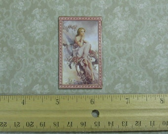 Dollhouse Miniature Framed Sitting Fairy Art Print
