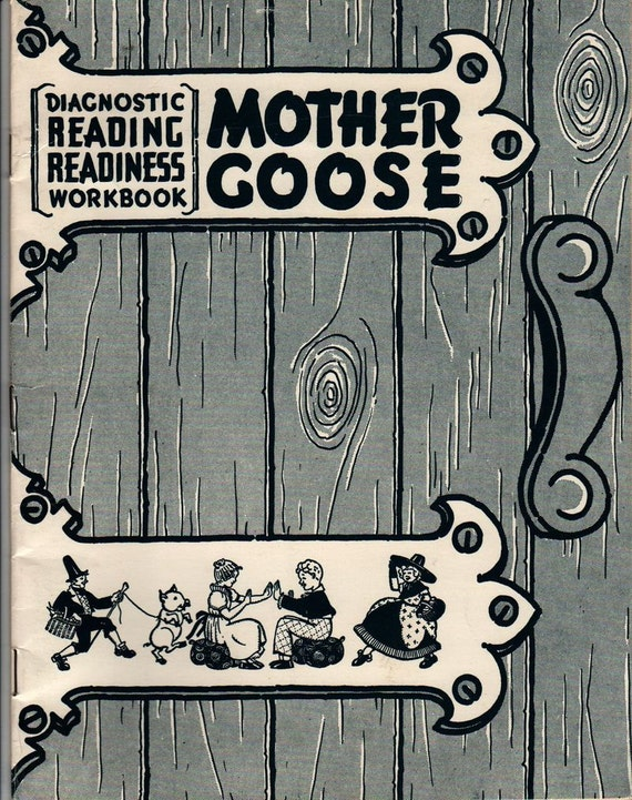 Mother Goose Diagnostic Reading Readiness Workbook - Eleanor M. Johnson - 1938 (Fiftieth Printing) - Vintage Kids Book