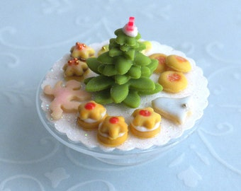 Christmas Cookies on a Glass Cake Pedestal - Shabby Cottage Chic Dollhouse Miniature Food
