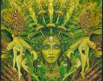 Dryad Forest Nymph Goddess Pagan Psychedelic Art 11x14 Print Pagan Mythology Psychedelic Bohemian Gypsy Goddess Art