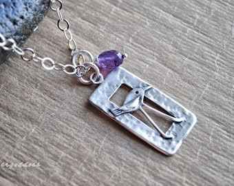 LONG LEGS sterling silver 18 inch bird pendant necklace with amethyst drop clasp choice by srgoddess