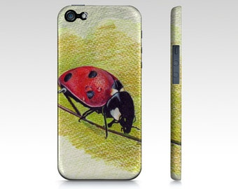 LADYBUG cell phone case for iphone 5/5s, iphone 4/4s samsung galaxy s3 s4 s5 original art of Ela Steel colored pencil drawing  hard case