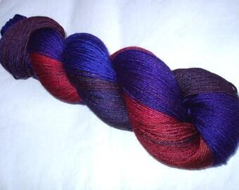 Ultra soft merino silk yarn, 50/50, superwash, DRAGON BLOOD, hand dyed yarn, fingering weight, sock yarn, weaving yarn, 440yds