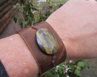 Brown Leather Cuff with Stone Bead