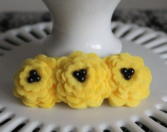 Yellow wool felt flower hair barrette - great stocking stuffer!