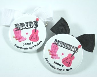 10 Cowgirl Theme Bachelorette Party Favors, PIN BACK buttons NO bows
