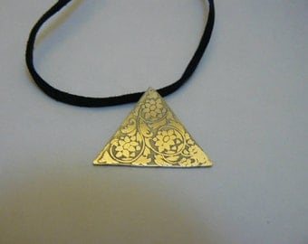 Etched sterling silver jacquard style pendant