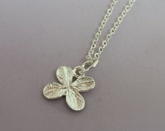 Sterling Silver Tiny Flower Necklace - Hydrangea