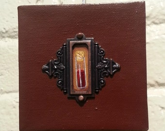 Blood Vial-New Contemporary Horror Original Acrylic Painting 4x4-By Alexandria Sandlin Cherrybones