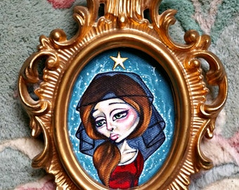 Veiled Sight-Big Eye Pop Surrealism Gothic Original Acrylic Painting 2.5x3.5-By Alexandria Sandlin Cherrybones