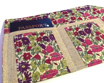 Liberty of London Passport Cover and Family Size Case- The Mini In Touch Clutch for Moleskine Journals and Passports, Liberty Tana Lawn