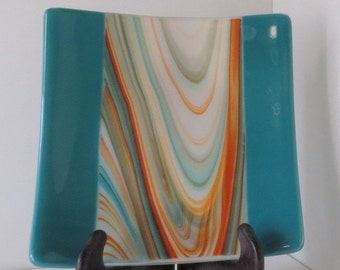 Fused Glass Dish, Turquoise, Orange and White, Serving Dish,  Statteam