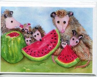 Possum Print of My Original  Possum Picnic Painting Watercolor Painting, Opossum Art, Possum family eating watermelon