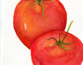 Tomatoes  Watercolor Painting Original, Small Fruit Painting, Kitchen Wall Art, 5 x 7, watercolors of tomato