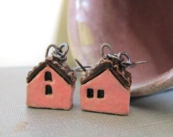 House Earrings, Silver Earrings, Stoneware Earrings, Stoneware Houses, Clay Earrings, Pink and Black, Pink Houses