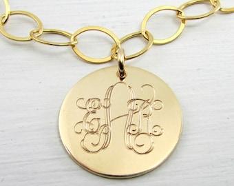 Gold Monogram Bracelet | Gold Charm Bracelet | 14K Gold Filled | Initial Bracelet | Monogram Jewelry