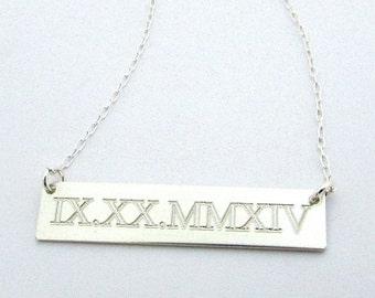 Silver Roman Numeral Necklace | Engraved Wedding Date Jewelry | Special Date Charm | Bar Necklace by E. Ria Designs Too