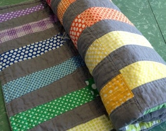 Rainbow ~ Handmade Modern Scrappy Strip Quilt for baby toddler child ~ gray ~ for boy or girl