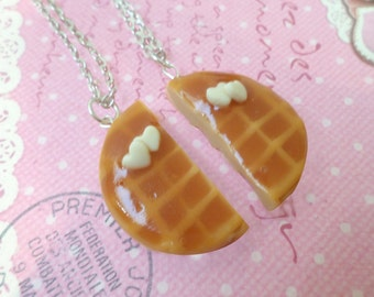 Best Friend Waffles Necklace Set: BFF Jewelry, Polymer Clay, Best Friend Necklace, Miniature Food Jewelry