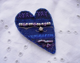 Midnight Heart Brooch Pin Purple and Navy with Diamante and crystals