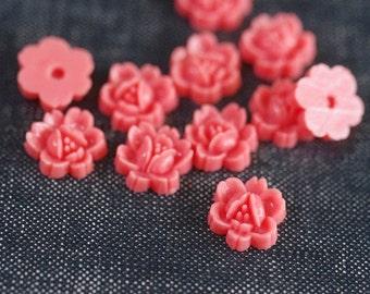 11mm Vintage Five Petal Lotus Lily Flower Cabochons - Rose Pink - 10pcs - Pink Flower Cabs, Vintage Flower Cab, Lotus Flower, Lily Cabochon