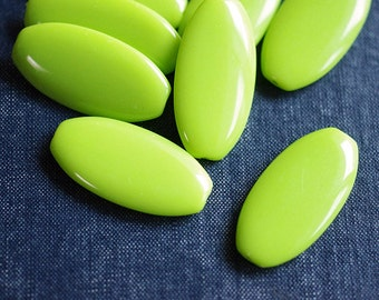 20x40mm Opaque Smooth Elongated Flat Oval Beads - Lime Green - 8pcs