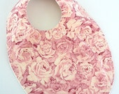 FLASH SALE - baby bib boutique floral shabby pink roses flowers fabric bib girl baby ivory minky #222
