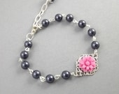 Navy Blue Fuchsia Flower Silver Filigree Bridesmaids Bracelet