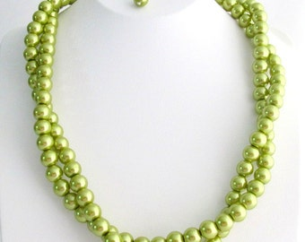 Olive Green Pearl Twisted Necklace Double Strand Necklace Bridal Party Necklace Free Shipping In USA