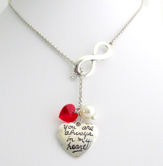 You are always In My Heart Infinity Pendant Lariat Necklace With Red Swaroski Crystal Heart Infinity Love You Free Shipping In USA