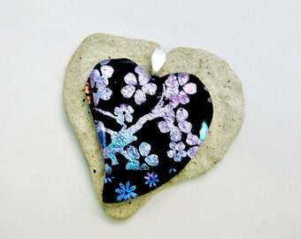 Fused Glass Jewelry / Heart Shaped Pendant / Pink and Blue Flowers
